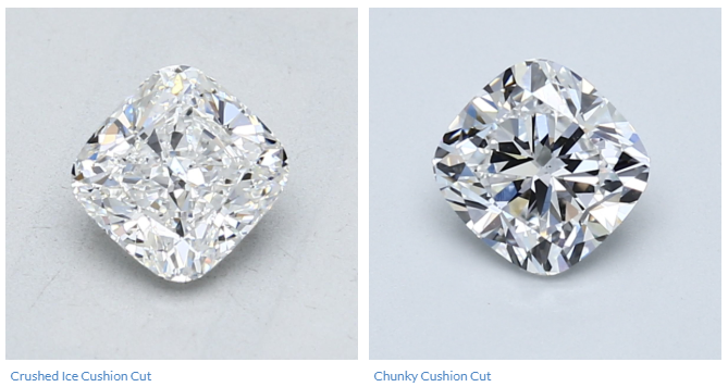 Crushed Ice vs Chunky Cushion Cut Diamond